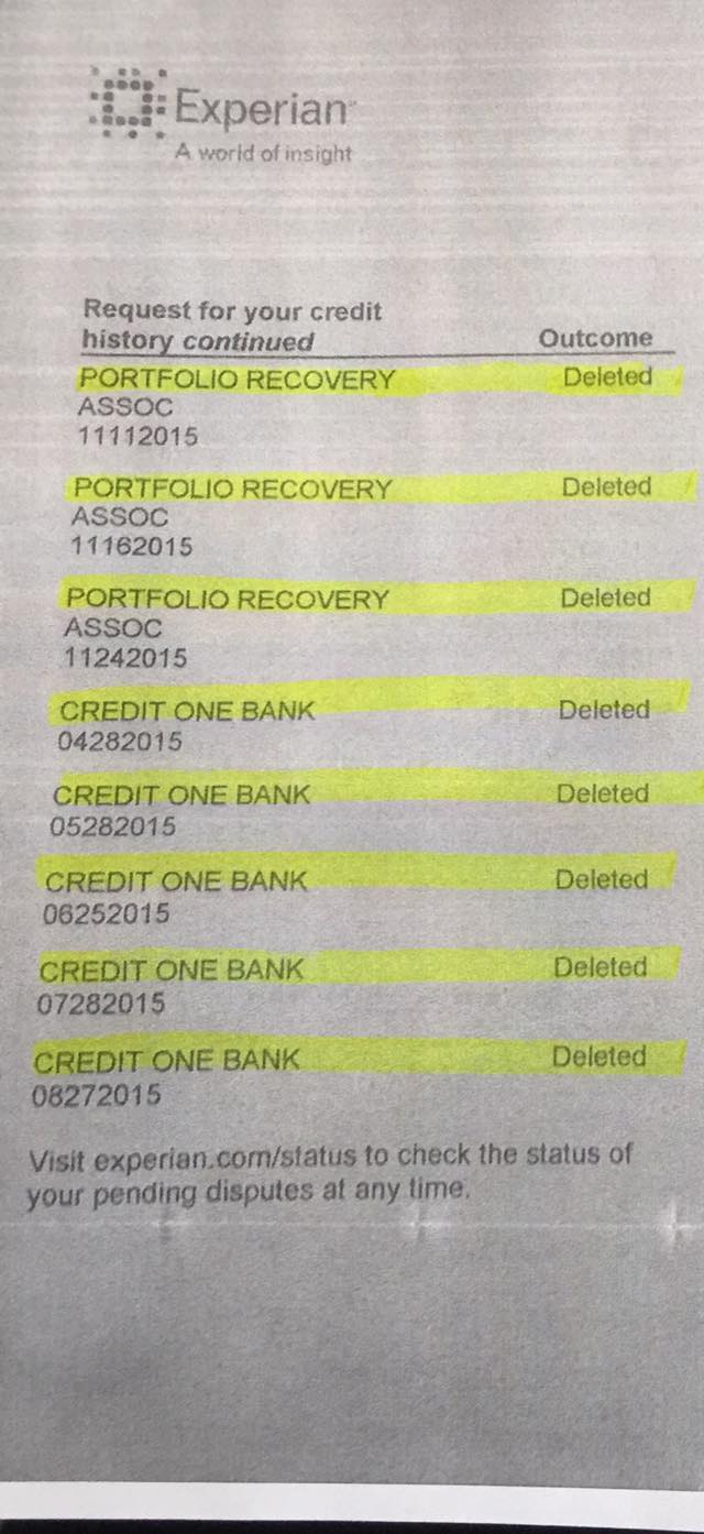 credit repair example showing all collections deleted in 30 days