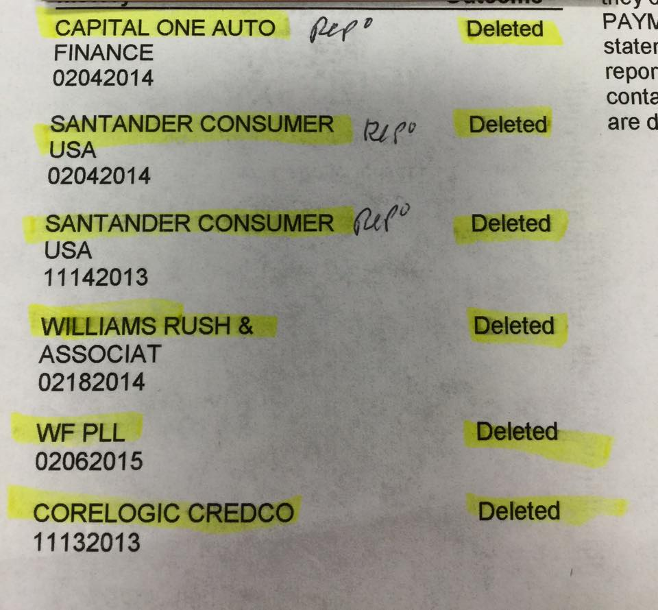 credit repair example showing 3 repos deleted from credit report