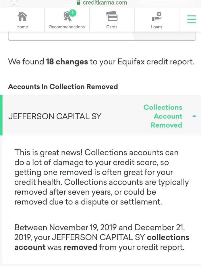 credit repair example showing verifiable proof on creditkarma app